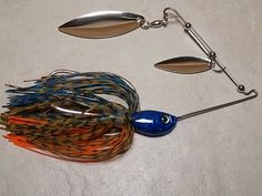 """Double willow leaf in my blue bluegill pattern.... Go to www.jigs4bass.com and take a look at all of my """"tournament quality""""baits. Fishing Tips, Fishing Lures, Bass Tackle, Bass Bait, Willow Leaf, Bass Lures, Spinner Bait, Canoe And Kayak, Bobber"""