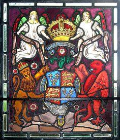 Tudor House stained glass -Tudor Royal Arms  structure ideas and print ideas, colour clash