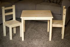 Genuine Wood Children's Table / Desk + 2 chairs