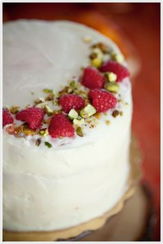 Raspberry-Pistachio Cake with Mascarpone Icing