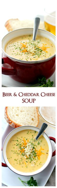 Beer & Cheddar Cheese Soup | Perfect for a weeknight meal, this Beer and Cheese Soup is creamy, delicious and it is so easy to make! Best comfort food / easy soup recipe ever.