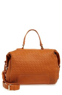 214b11d273 A tonal panel of woven faux leather adds rich texture to this softly  structured satchel with