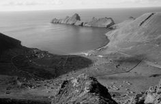 """looking down to the village and Village Bay the late George Sassoon, who travelled to St Kilda in 1965 aboard the """"Glen Carradale"""" owned by Alastair Gibson. These are some of his photos from that journey"""
