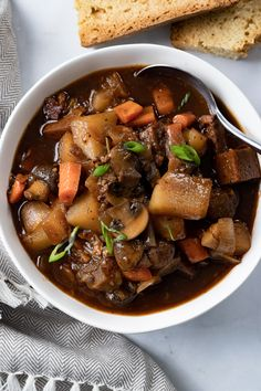 Rich, hearty, and comforting, this Vegan Beef Stew is the perfect cozy dinner. It is packed with vegetables, vegan beef chunks, and a savory broth full of flavor and pairs wonderfully with a slice of crusty bread. Beef Recipes, Soup Recipes, Whole Food Recipes, Vegetarian Recipes, Cooking Recipes, Vegan Beef, Vegan Soup, Cooking With Red Wine, Vegan Philly Cheesesteak