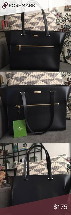 Kate Spade Leather Portfolio Bag 13 x 11 excellent condition, this is a re-posh used less than 5 times. Asking price paid only 😍 truly a beautiful bag... I bought this while on maternity leave but turns out I am not returning to the office so really have no need for it anymore. This retails for around $300 kate spade Bags Totes