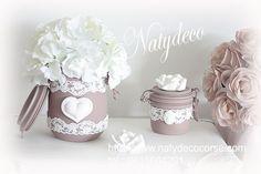 bocal de déco couleur divers avec dentelle et coeurs en plâtre en vente sur http://www.natydecocorse.com