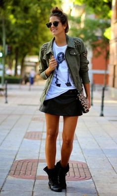 Look: Militar + Couro