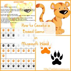 Can you make a board game to go along with any topic? Well, just about! Here is a simple way I found to create a board game about virtually any topic, for any age level, using basic images and Microsoft Word.