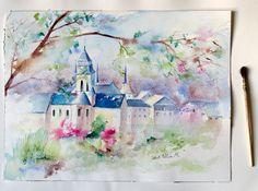 Peinture aquarelle originale de l' Abbaye de par MartineSaintEllier