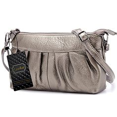 Lecxci Womens Small Real Leather Crossbody Cell Phone Bags Clutch Wallet Purse with Strap for Women 1Silver Grey *** Want additional info? Click on the image.
