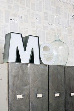 14x XL vintage letters als decoratie