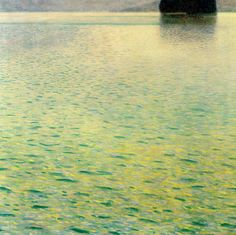 Island in the Attersee - Gustav Klimt ,oil on canvas , cm, Private Collection . Attersee (also Known asthe Kammersee)is the largest lake in Salzkammergut area ; it extends for about 29 Km from North to South and 4 Km from East to West . Gustav Klimt, Art Klimt, Art Nouveau, Franz Josef I, Baumgarten, Vienna Secession, Oil Painting Reproductions, Island, Art Plastique