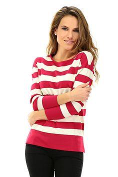 TWIN-SET SIMONA BARBIERI - Maglie - Abbigliamento - Maglia in viscosa elasticizzata a righe, girocollo e manica lunga. - MADREPERLA\MAGENTA - € 106.00