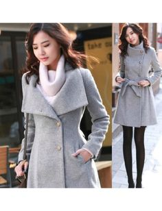 Top Quality Cashmere Gray Concise Style Open Collar Long Sleeve Jackets & Coats