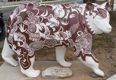 'Pottery Bear' - from The Painted Bear Trail in Cherokee, North Carolina;  one of 19 fiberglass bears