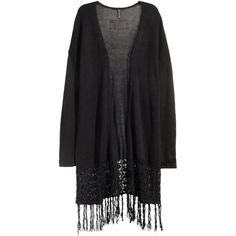 H&M Fringed cardigan (46 NZD) ❤ liked on Polyvore featuring tops, cardigans, black, jackets, kimonos, long cardigan, long black kimono, black lace cardigan, kimono cardigan and black kimono cardigan