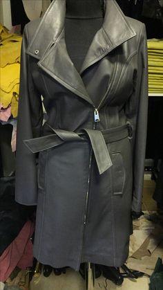 Real leather trechcoat