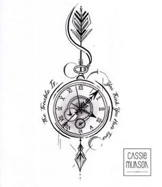 Pocket Watch Tattoo Commission by cassiemunson-art