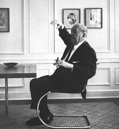 Mies vander Rohe (1886-1969) in his apartment on east pearson street, Chicago, 1964.