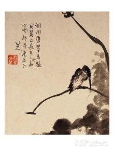Lotus and Bird Giclee Print