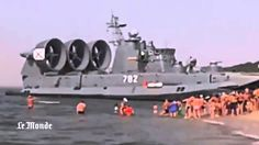 Russian Navy Hovercraft Lands On Busy Beach HD Full Footage!