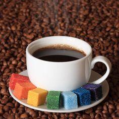 coffee and rainbow sugar cubes. taste the rainbow. I Love Coffee, Coffee Break, My Coffee, Coffee Cups, Morning Coffee, Coffee Talk, Happy Coffee, Drink Coffee, Coffee Zone