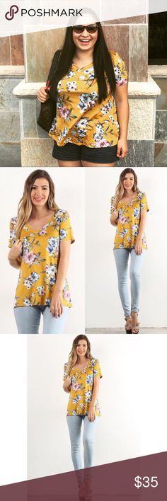 Mustard Floral Top Soft and comfy top! Perfect for spring and summer  V neck doesn't hit too low  Made in USA  97% polyester 3% spandex. No trades. No lowball offers. Kyoot Klothing Tops
