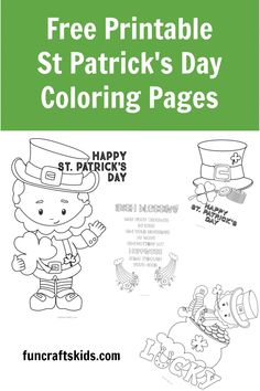 Free Printable St Patrick's Day Coloring Pages - Fun Crafts Kids Free Printable Coloring Pages, Coloring Pages For Kids, Free Printables, St Patricks Day Quotes, Happy St Patricks Day, Paper Crafts For Kids, Easy Crafts For Kids, Dots And Boxes, Bingo Sheets