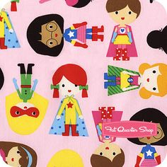 Super Kids Adventure Super Girls Yardage: pink background