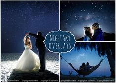 This listing is for a set of gorgeous night skies overlays Perfect for evening / night photoshoots and wedding photos retouching Original colors DETAILS • 45 photo overlays high resolution