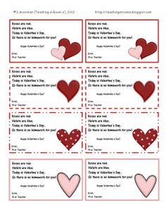 HW Passes to give your students, instead of candy, or buying other Valentines...free on blog to print