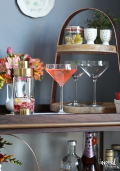Strawberry Thyme Martini - spring cocktail martini recipe ideas | Inspired by Charm