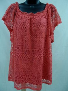 Plus Size 3X SHEER LACE Top STRETCH Shirt LINED Blouse Feminine Evening   NWT…