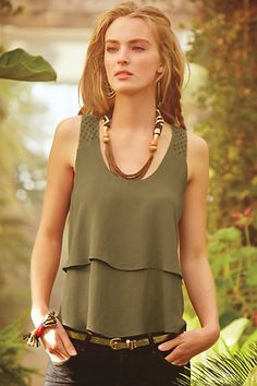 Tiered Midi Tank #anthropologie Love this color