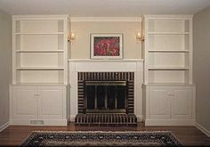 Built-ins around zero-clearance fireplace? Bookshelves Around Fireplace, Built In Around Fireplace, Fireplace Built Ins, Wall Bookshelves, Fireplace Remodel, Built In Bookcase, Fireplace Surrounds, Fireplace Design, Bookcases