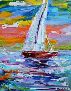 Original Boats oil painting by artist Karen Tarlton. Painted on gallery wrapped canvas in impasto oil technique with palette knife. Title: Sailing