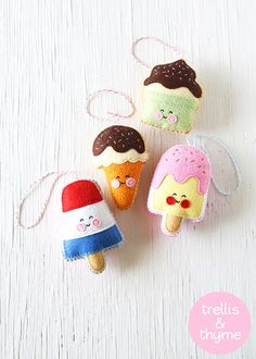 PDF Pattern - Ice Cream Shop Pattern Collection, Kawaii Felt Ice Cream Ornament Patterns, Felt Softie Sewing Patterns