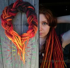 Fire-wool dread made by Dread Witch