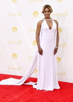 Laverne Cox: Grade B+ The Orange Is the New Black star, 30, stunned in a chic Marc Bouwer number with an elaborate train, matching Fred Leighton jewels, and perfect makeup.