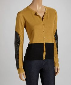 Take a look at this Mustard & Black Color Block Cardigan by ELIO on #zulily today! $27 !!