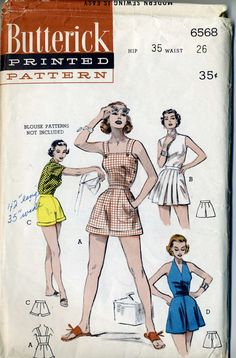 63d4510cf48 Items similar to Vintage 50s Butterick 6568 UNCUT Misses Pinup Romper  Sunsuit and Shorts Sewing Pattern Waist Size 26 on Etsy