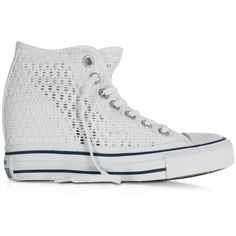 Converse Limited Edition Shoes All Star Mid Lux White Crochet Canvas... ($170) ❤ liked on Polyvore featuring shoes, sneakers, wedge heel sneakers, high top sneakers, canvas wedge sneakers, high top wedge sneakers and studded lace-up wedge sneakers