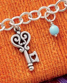 Summer Collection - Key to My Heart Charm, Light Blue Glass Enhancer Bead shown on Forged Link Charm Necklace #JamesAvery