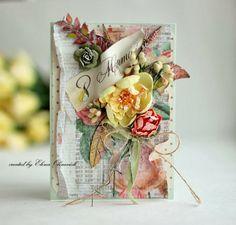 Blush Peach and sky blue shabby chic spring handmade card.
