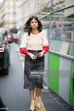 Natasha Goldenberg seen in the streets of Paris during the Paris Fashion Week on September 30, 2017 in Paris, France.