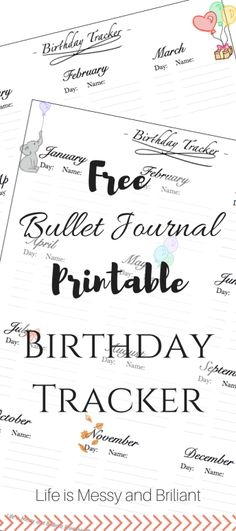 FREE Bullet Journal Printable Birthday Tracker