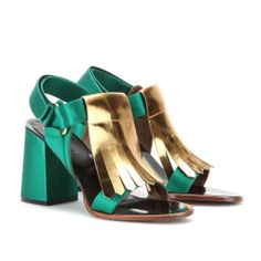 Shop now: Marni Metallic Leather and Satin Sandals