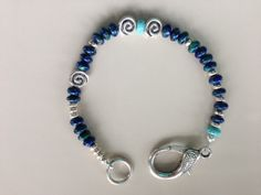 Chrysocolla and Tibetan Silver Unisex Bracelet by MAGICALUNIVERSE, $35.00