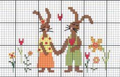 Rabbit couple cross stitch