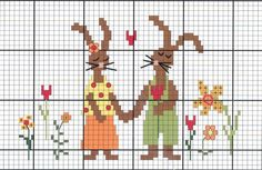 Rabbit couple cross stitch